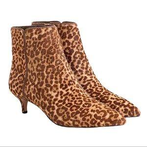 J Crew Fiona kittenheel ankle boots in leopard NEW